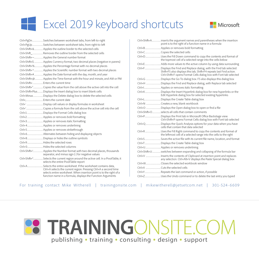 Microsoft Excel 2016 keyboard shortcuts