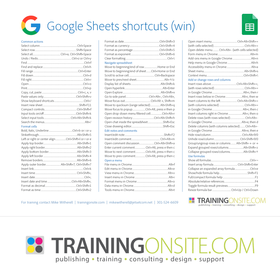 Google Chrome Sheets keyboard shortcuts