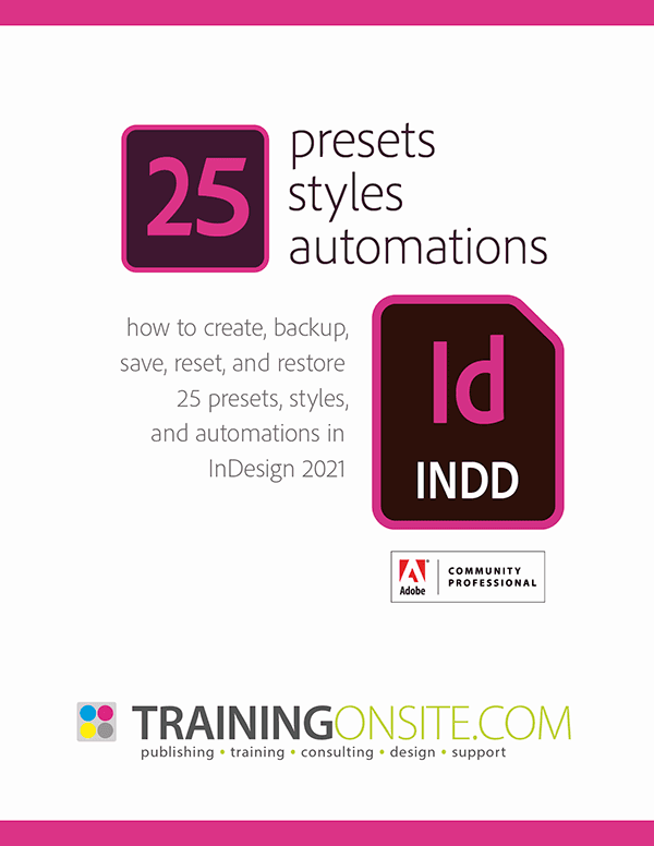 InDesign 2021 presets styles automations