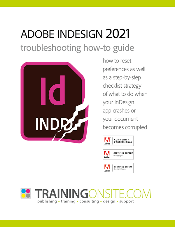 InDesign 2021 troubleshooting