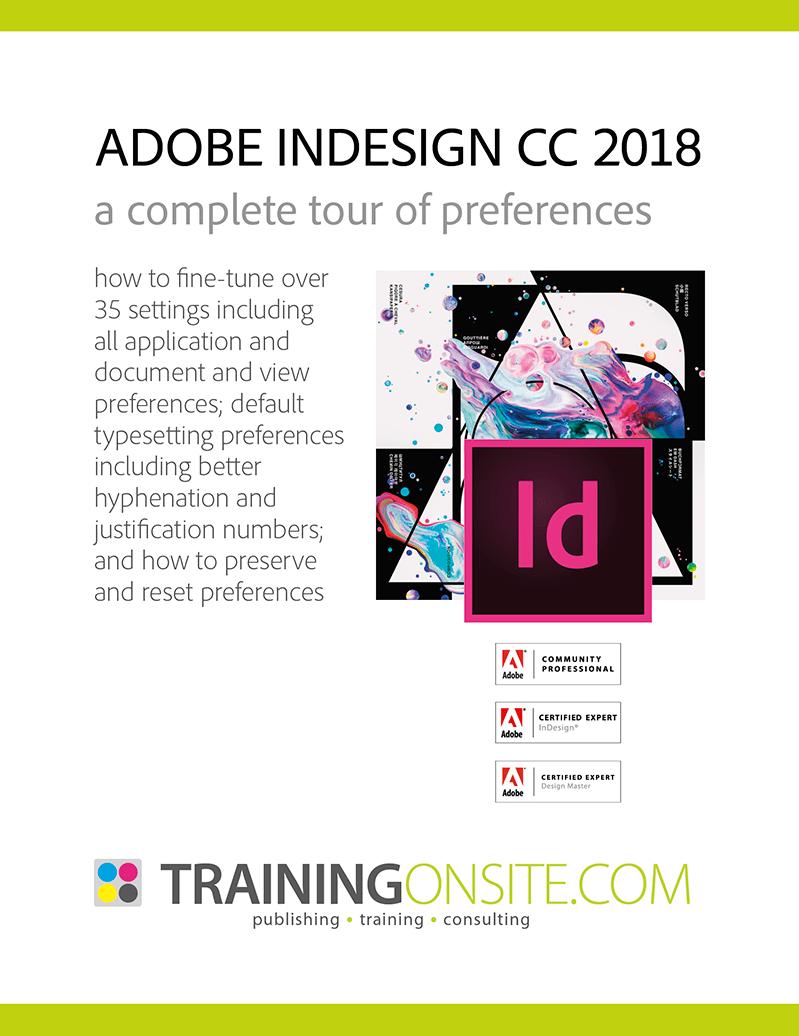 InDesign CC 2018 resources - TrainingOnsite com