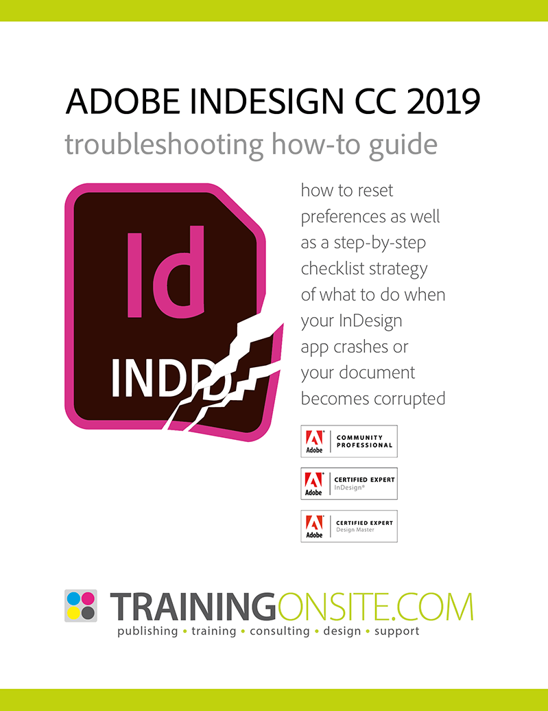 InDesign CC 2019 troubleshooting