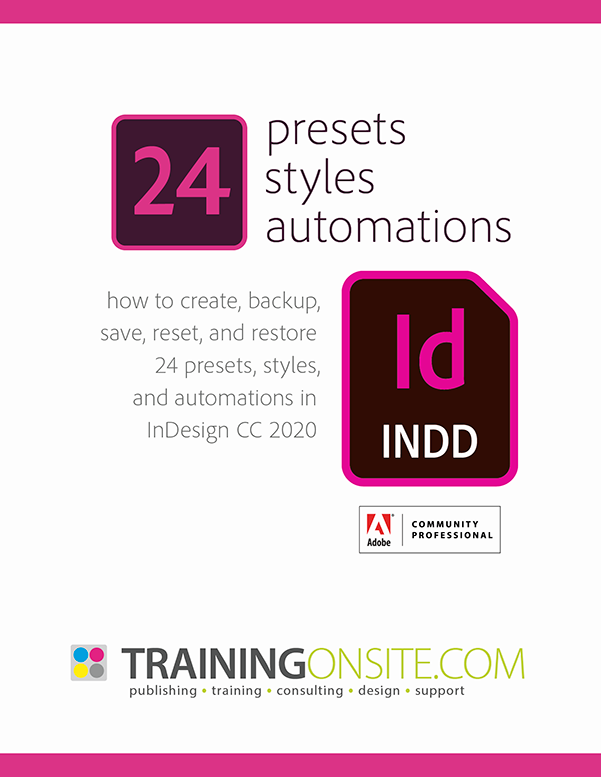 InDesign CC 2020 presets styles automations