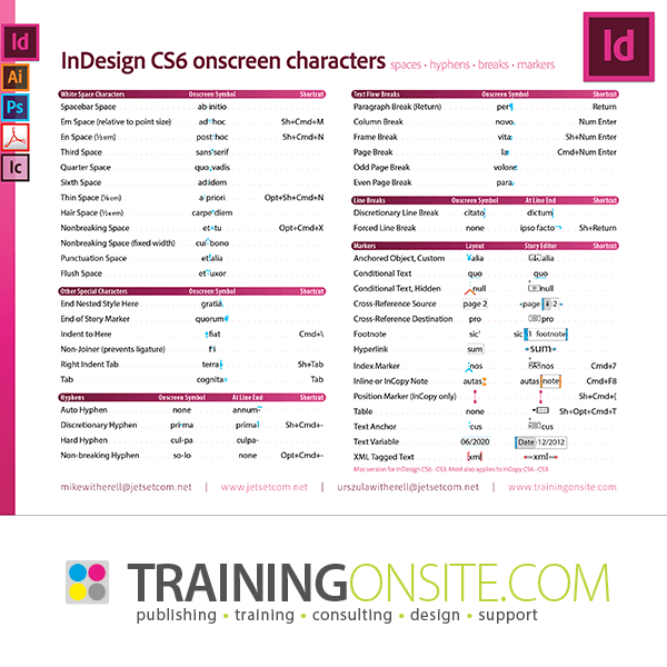 InDesign CS6 onscreen characters and symbols
