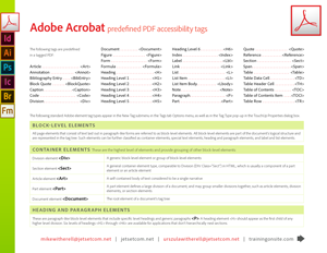 Acrobat XI element tags