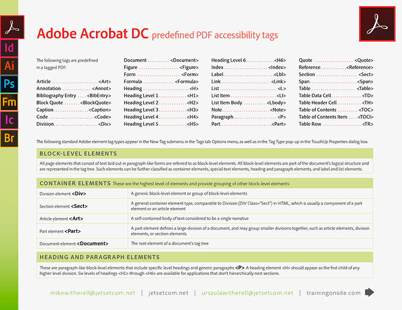 Acrobat DC and XI element tags